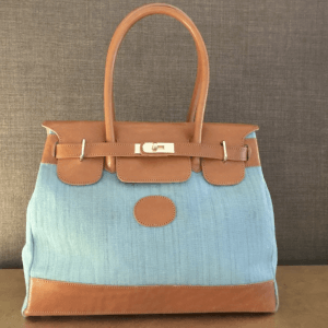 CARMEN SMALL TOILE IKAT TURQUOISE ET CUIR CLAIR
