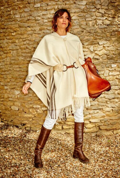 PONCHO TRADITIONNEL EPAIS ECRU/BRUN