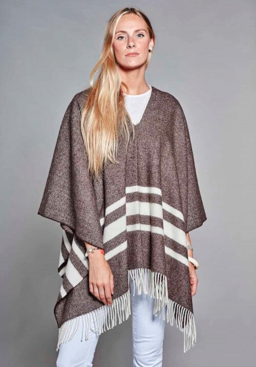 PONCHO MAYAS ROYAL MARRON RAYURES