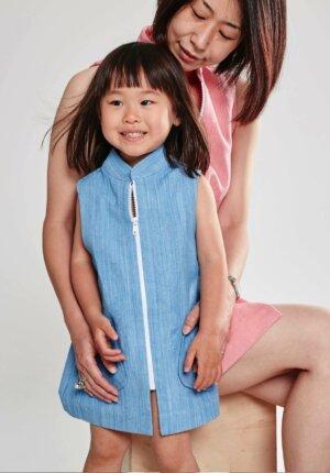 ROBE ENFANT : « PIN'UP » bleu ciel